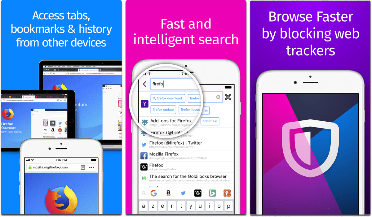 Screenshots of Firefox in our list of iOS browsers.