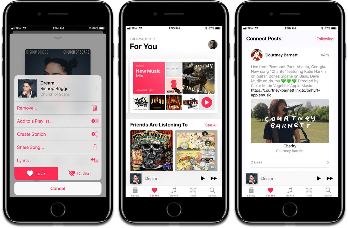 Image of loving a song, the For You section, and Apple Music Connect, to improve Apple Music.