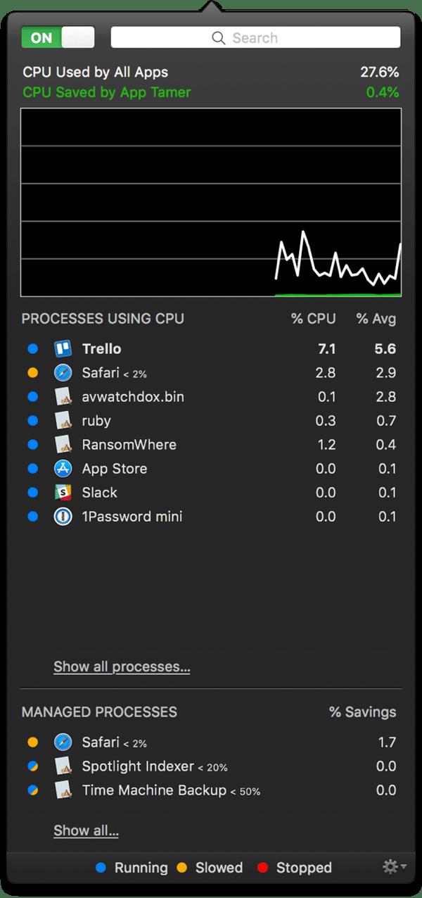 Screenshot of App Tamer to increase your Mac battery life.