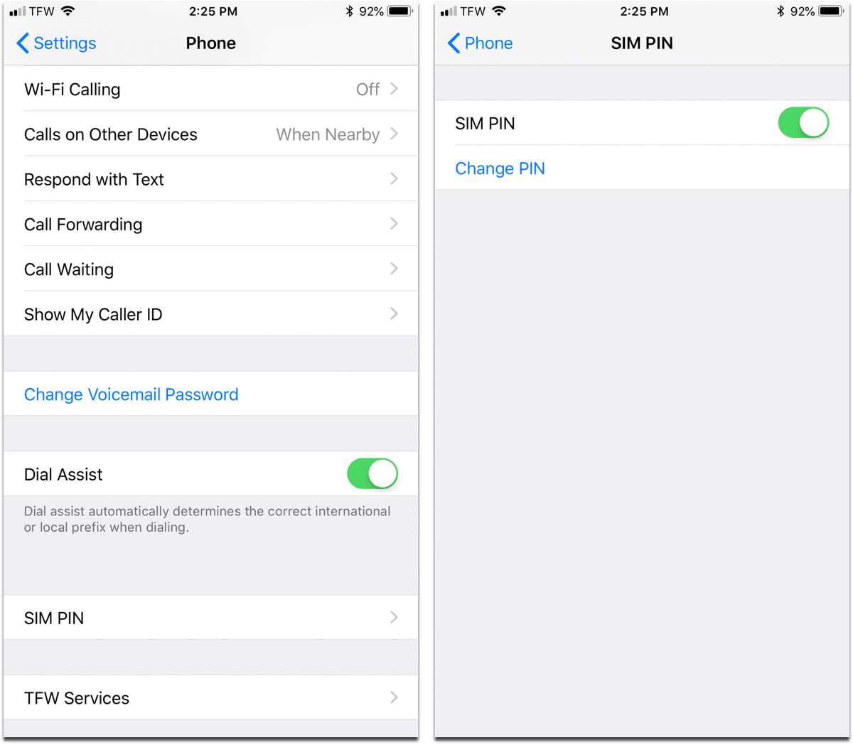 Creating a SIM PIN in iPhone settings.