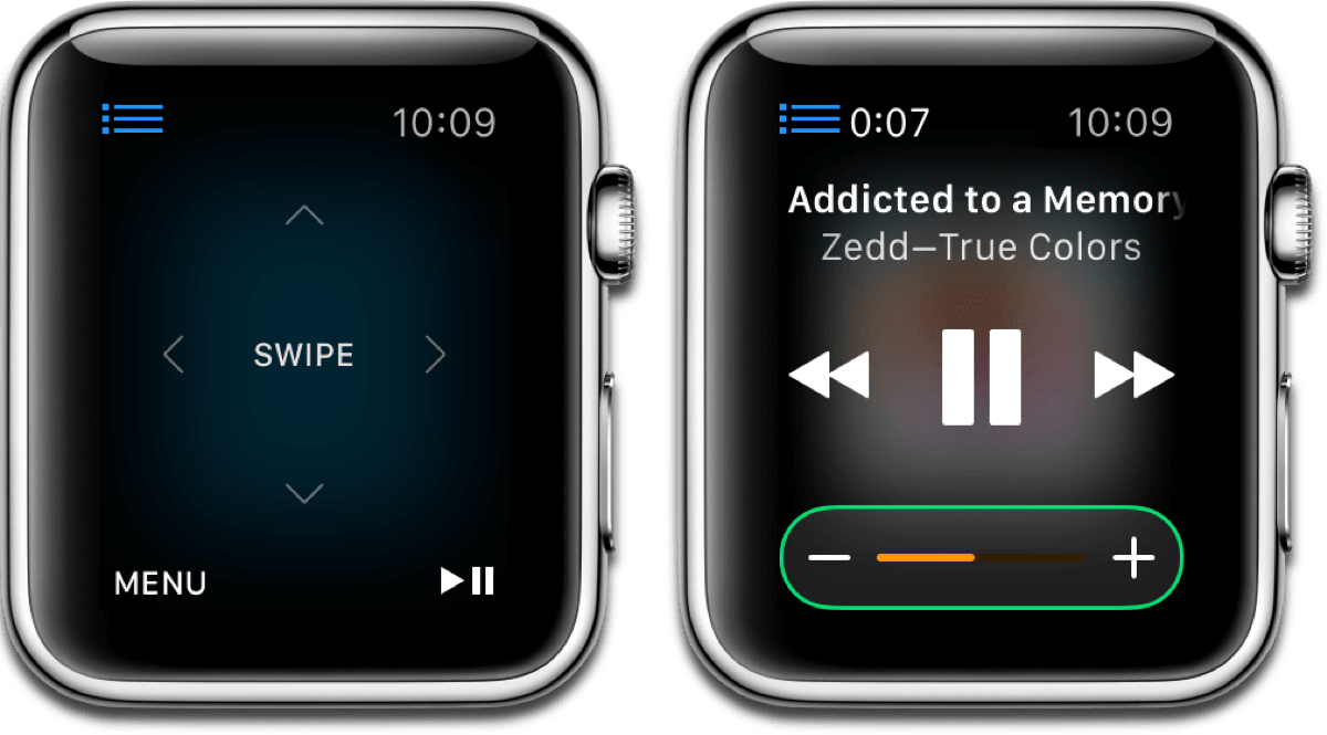On the left: Using Apple Watch as Apple TV remote. On the right: Using Apple Watch as iTunes remote.