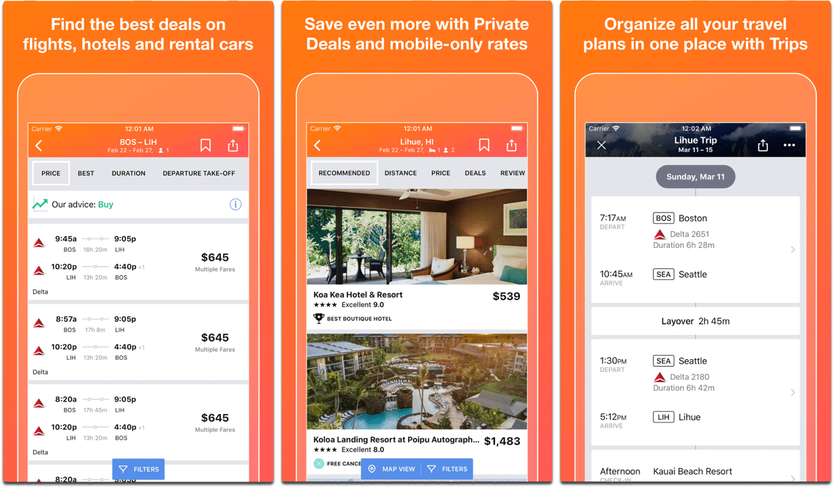 Screenshots of Kayak, an app to help plan your summer vacation.