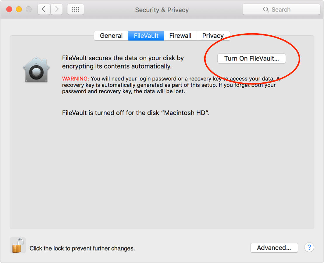 Mac enable FileVault option in Security & Privacy System Preferences