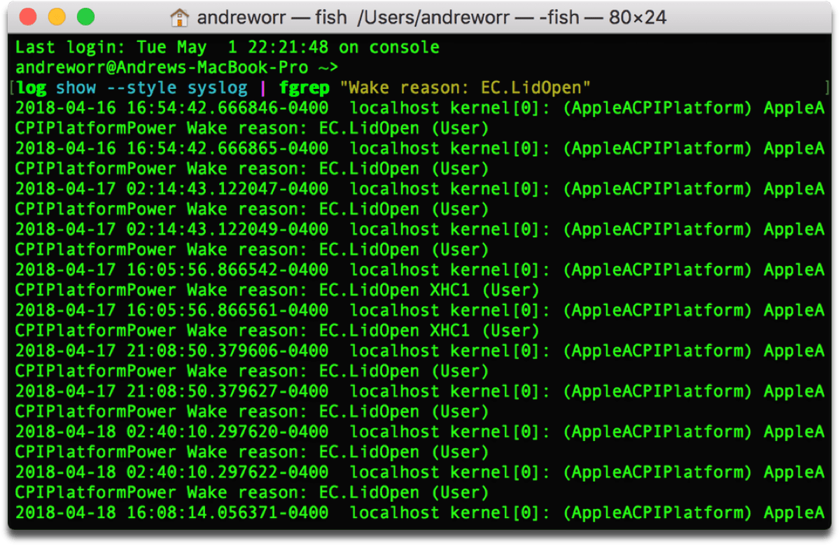 Screenshot of Mac wake history in Terminal.