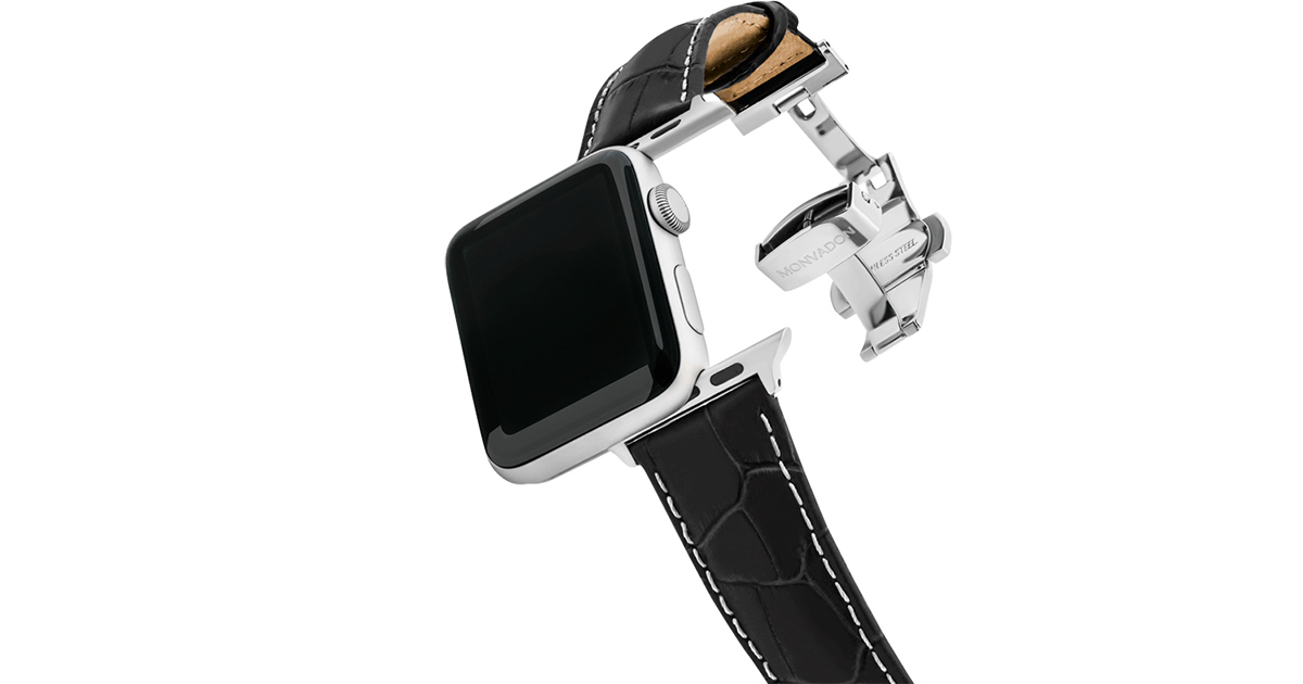 Monvadan Apple Watch Straps – Crocodile with Deployant Buckle
