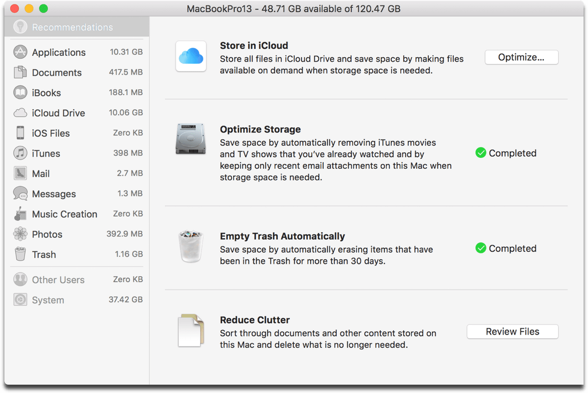 Screenshot of the optimize Mac storage options.