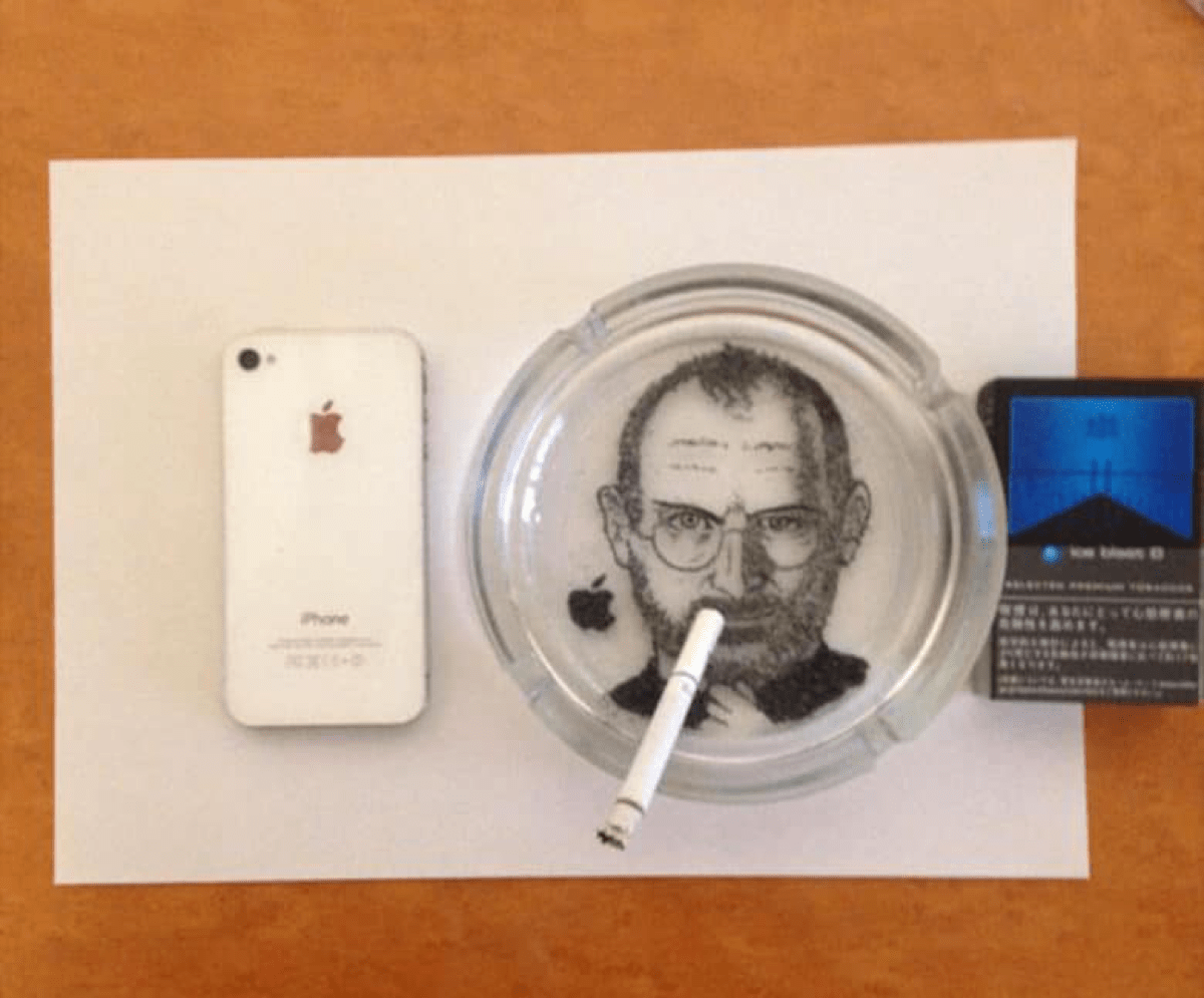 A Japanese Artist Created a Steve Jobs Portrait With Ash