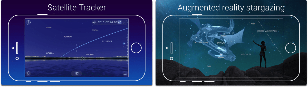 Screenshots of Star Walk 2 in our list of summer activity apps.
