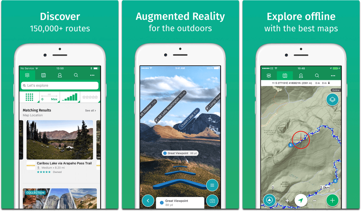 Screenshots of ViewRanger in our list of summer activity apps.