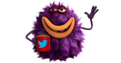 Bug with a Twitter coffee cup
