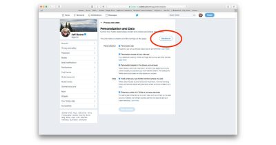 Twitter advertising personal data settings