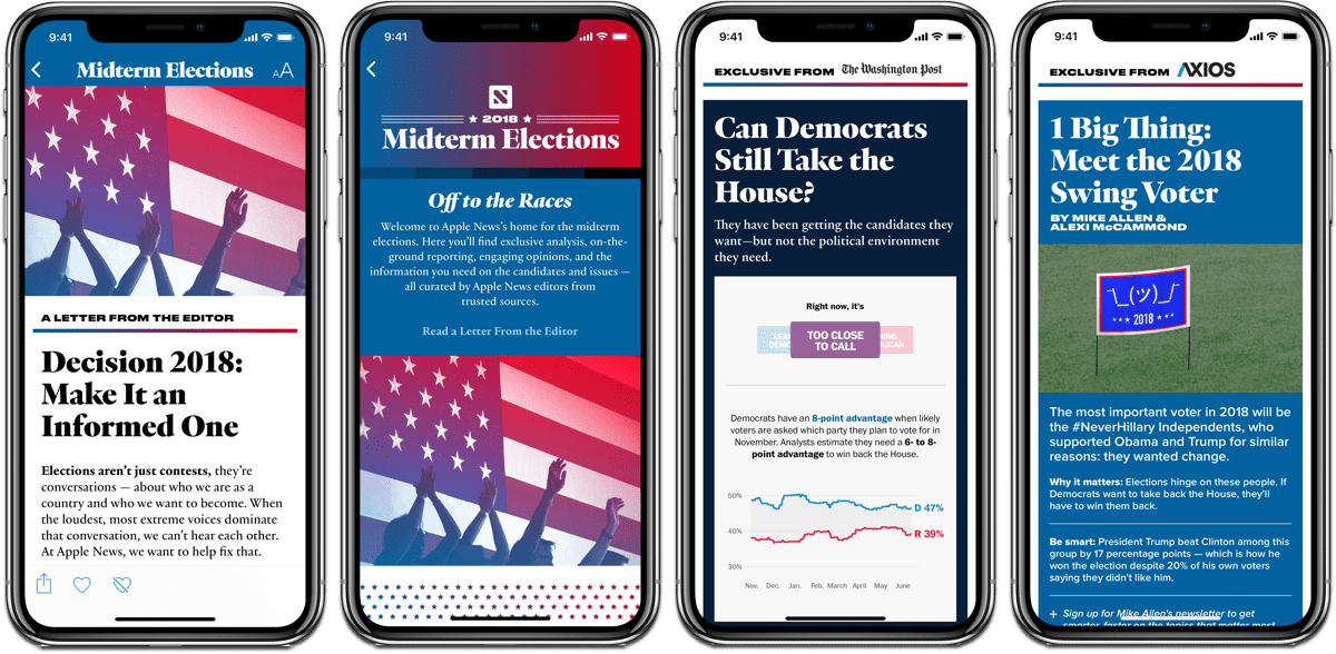 Images of the 2018 midterm elections section in Apple News.