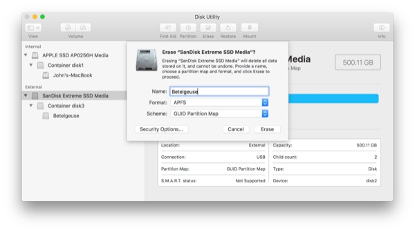 Disk utility: Erase SSD, format as APFS