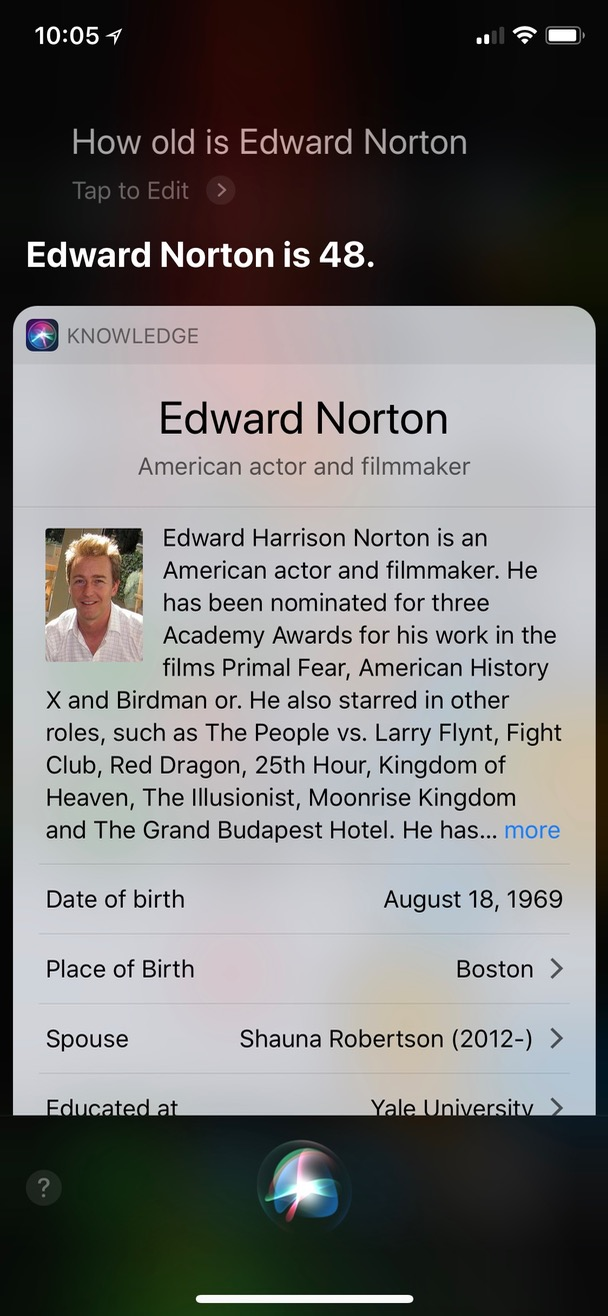 Asking Siri Age of Movie Star