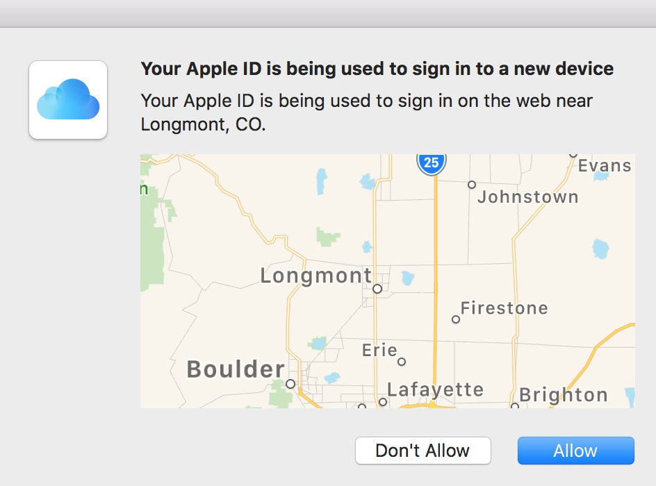 Apple ID Verification Prompt for iCloud two-factor authentication