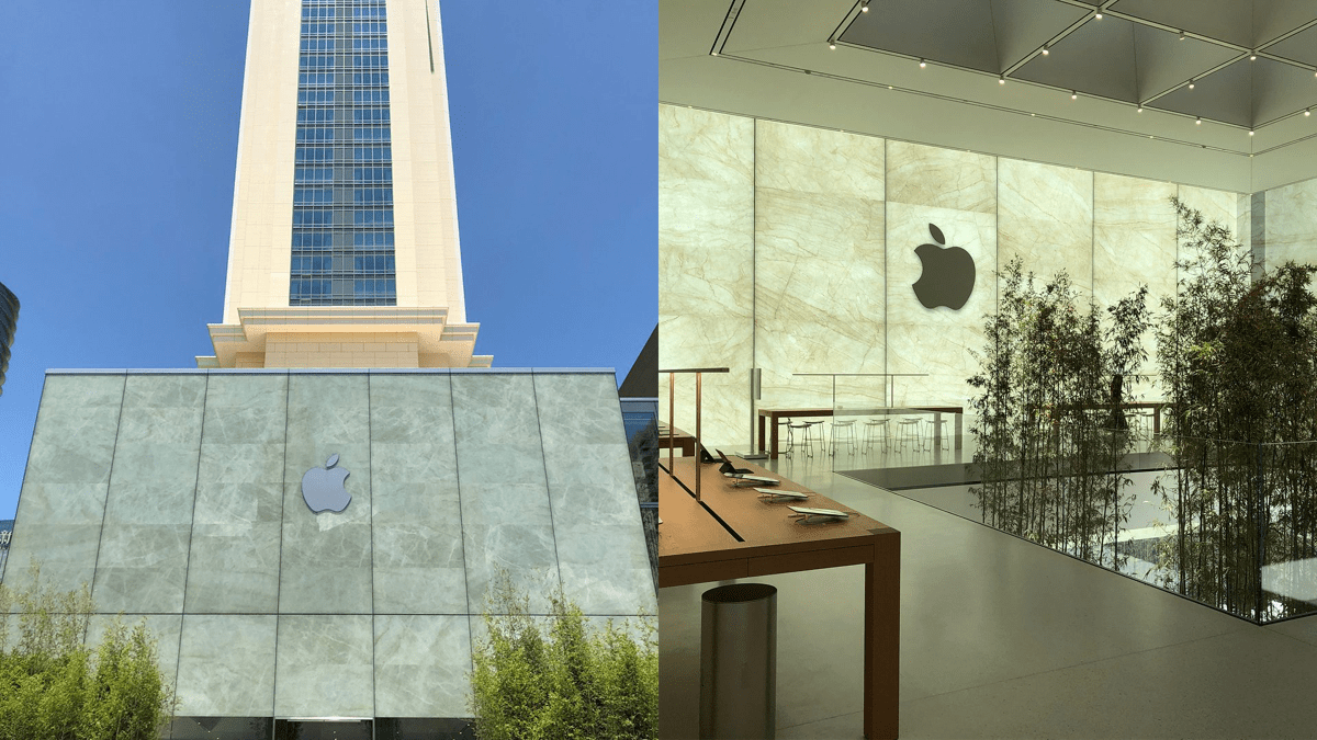 Inside view of the Apple Cotai Central store in China.