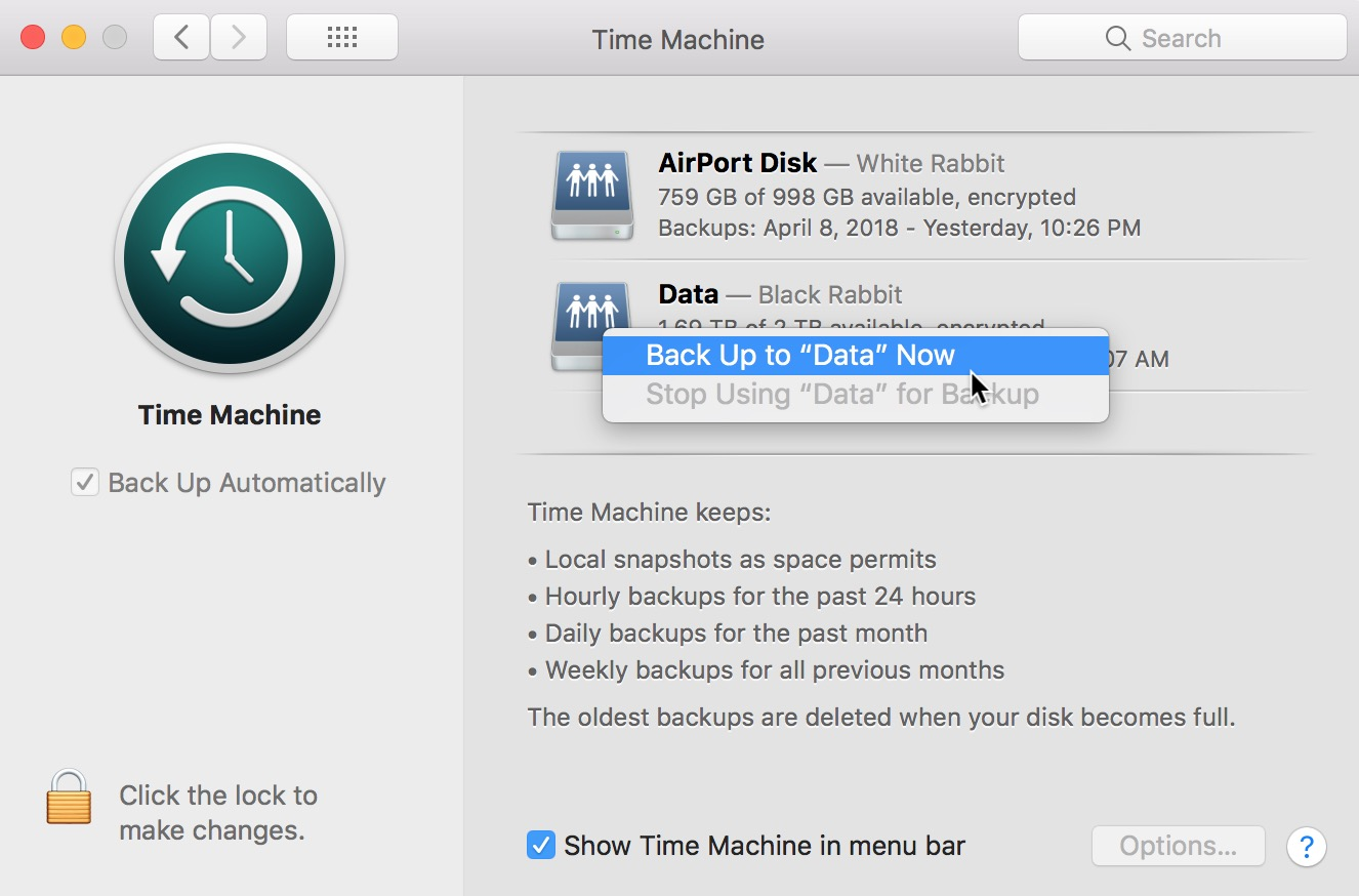 Back Up Now Menu in Time Machine preferences on the Mac forcing a backup to a specific drive