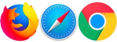 Safari, Firefox, Chrome