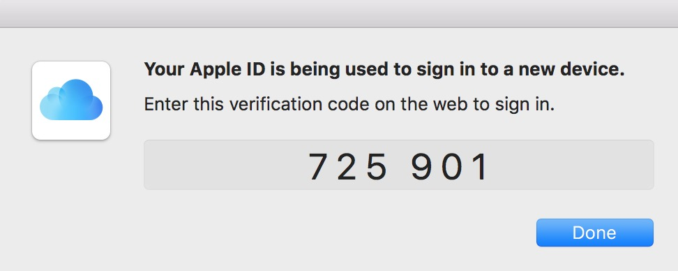 Apple ID Verification Prompt with Code for iCloud two-factor authentication