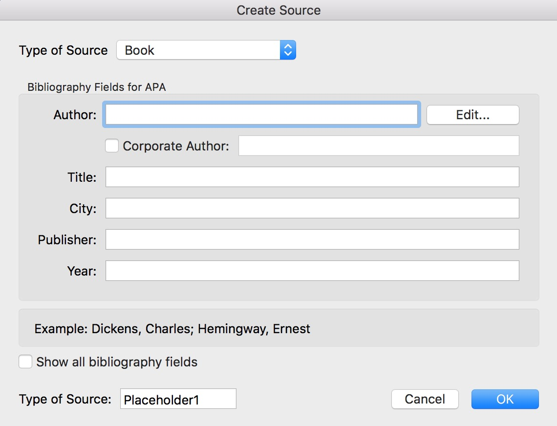 """Create Source"" Window for reference citation in Microsoft Word"