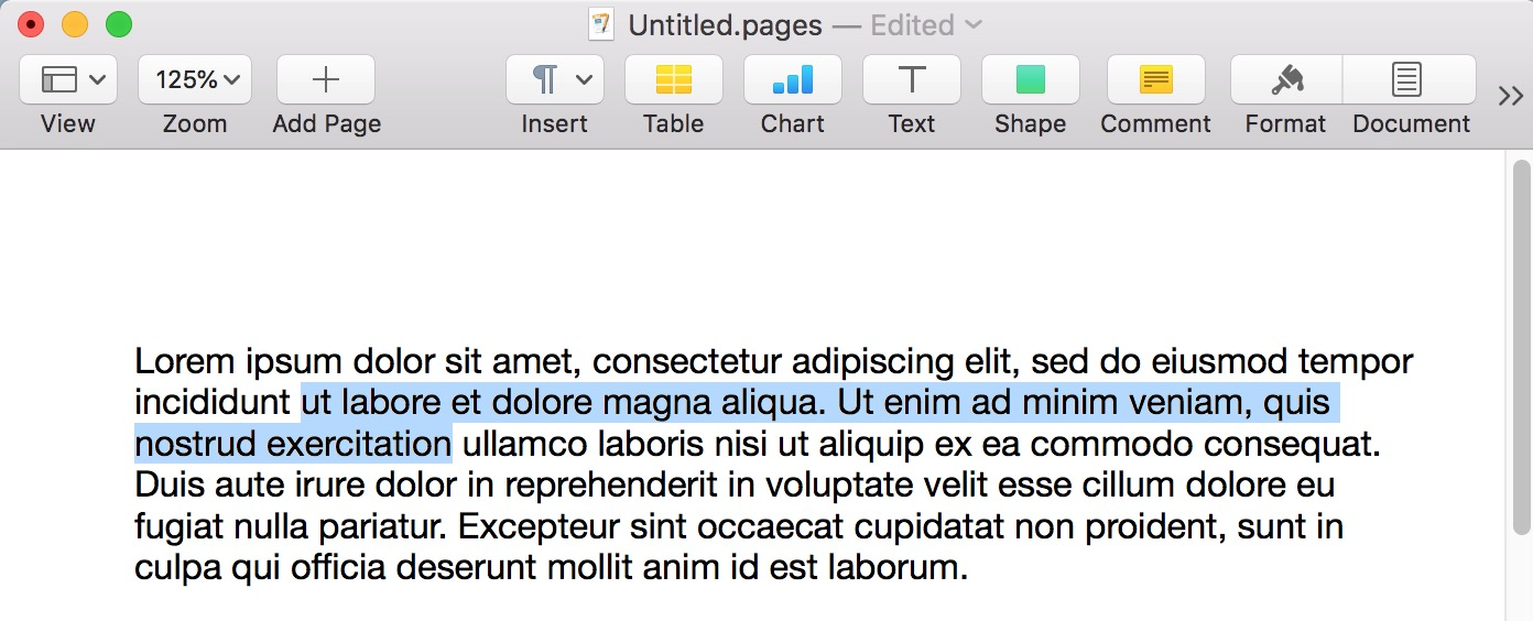 Selected Text in Pages Extended on the Mac