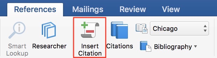 """Insert Citation"" Button in References in Microsoft Word"