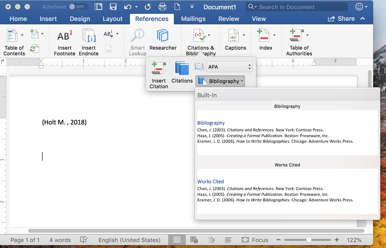 Inserting Bibliography in Microsoft Word