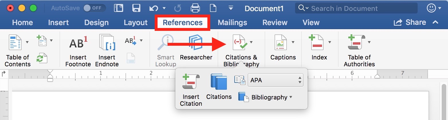 References Tab in Microsoft Word