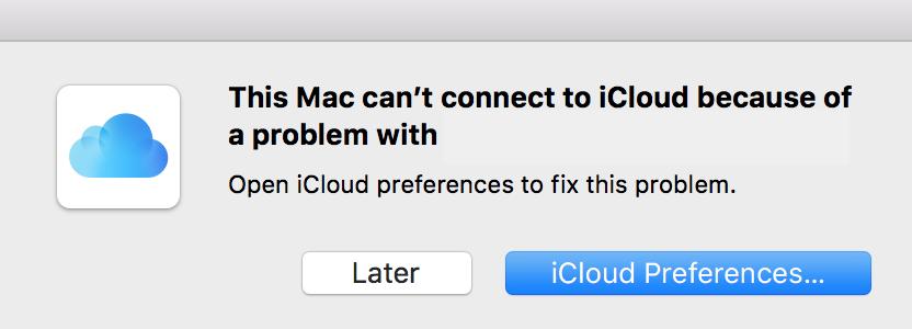 iCloud Password Complaint Pop-Up