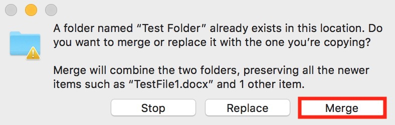 Merge Option in Mac Finder Dialog for combining two folders