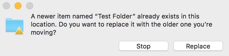 """""""Are You Sure"""" Mac Finder Dialog asking if you want to replace the folder with the one you're moving"""