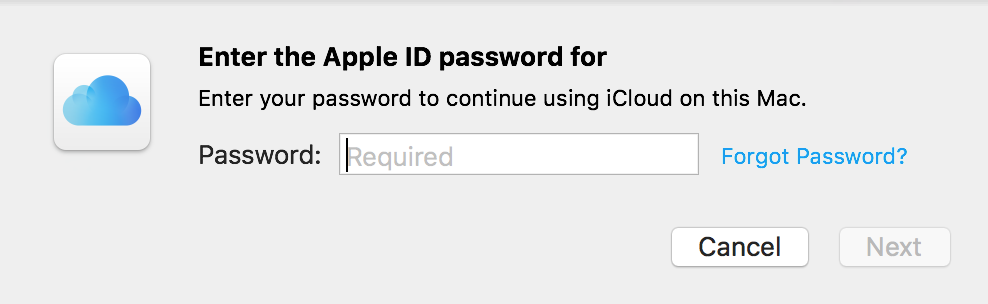 """Enter Apple ID Password"" Box for iCloud"