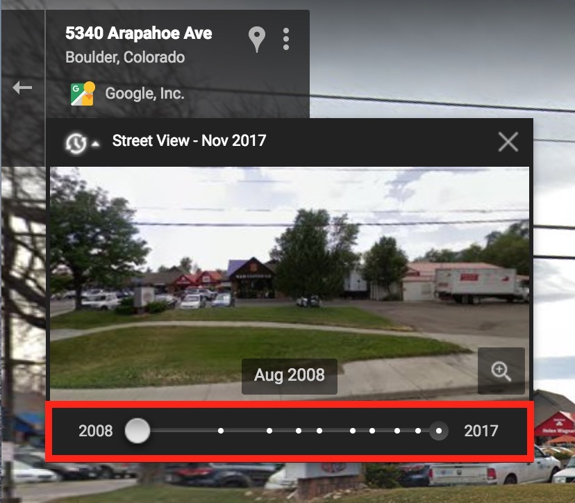 History of Place in Google Maps Street View