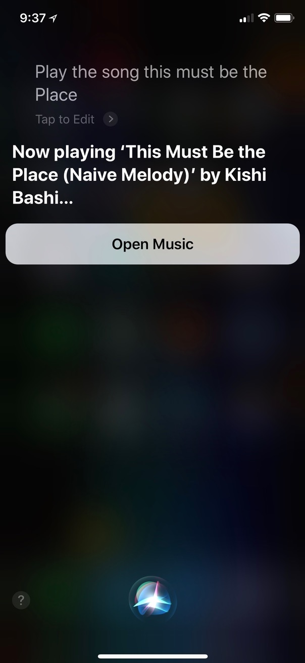 Asking Siri to Play a Song