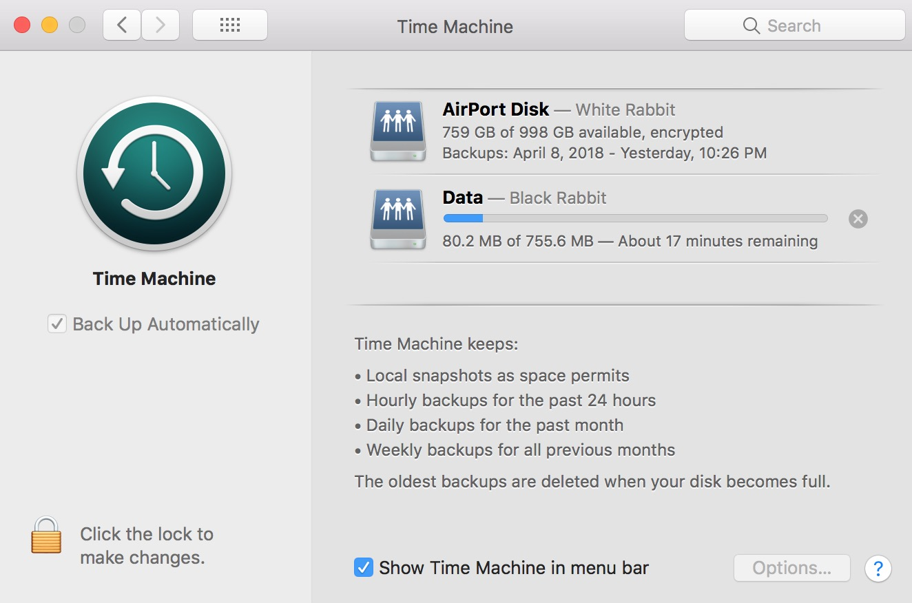 Time Machine Progress Bar showing the status of a backup in progress on the Mac