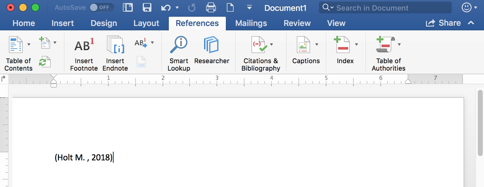 Reference Inserted in Text in Microsoft Word