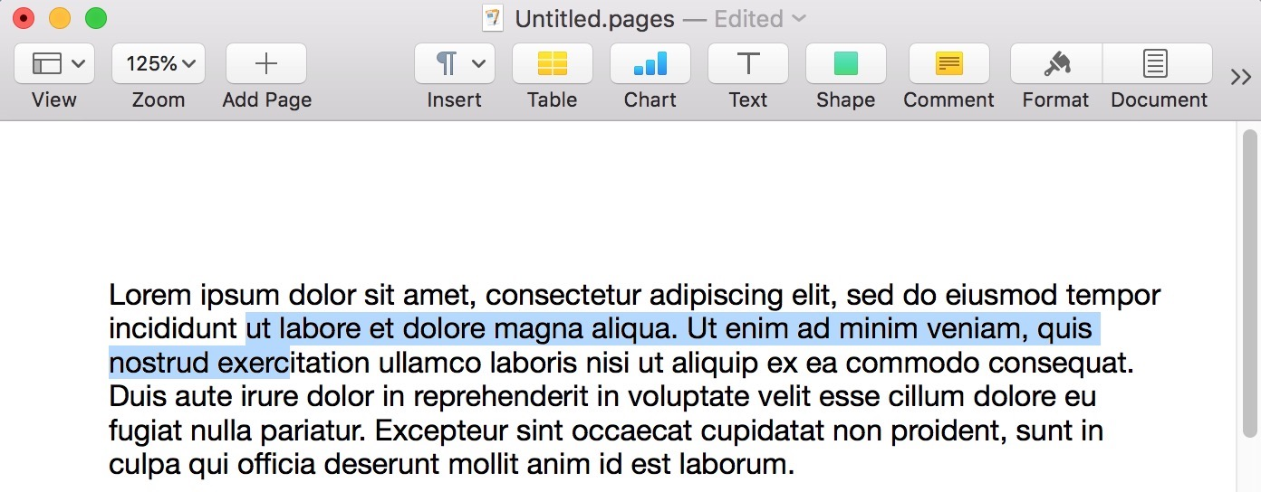 Selected Text in Pages on the Mac