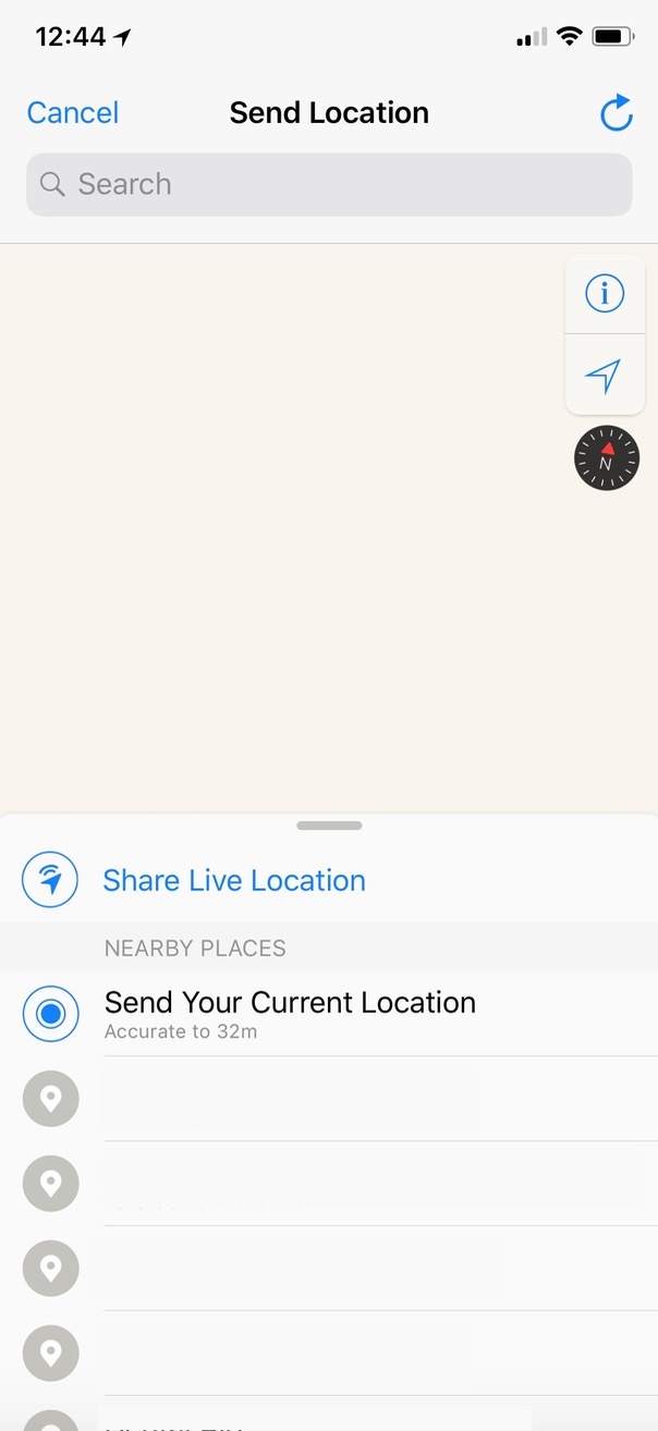 Share Live Location Screen in WhatsApp