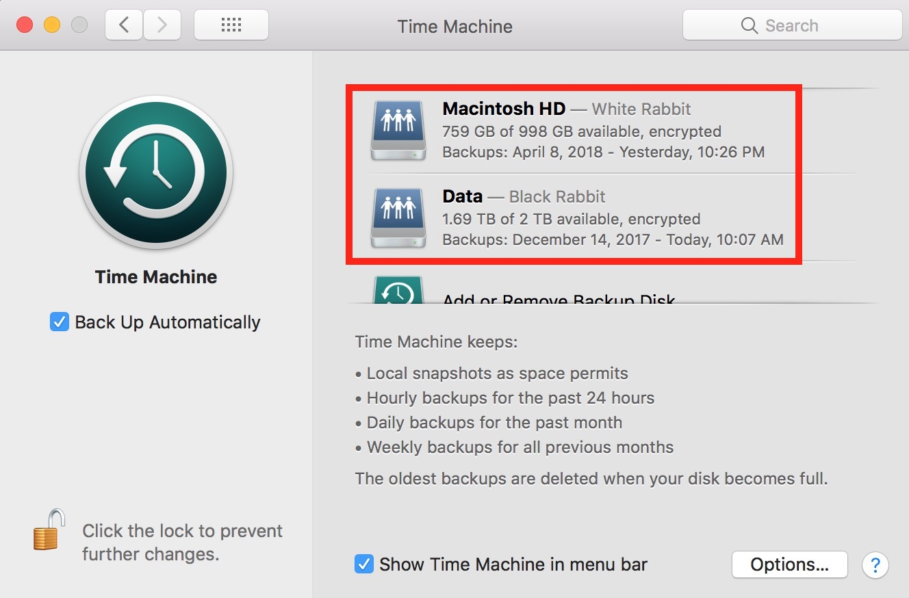 Time Machine Preferences on the Mac showing multiple backup destinations