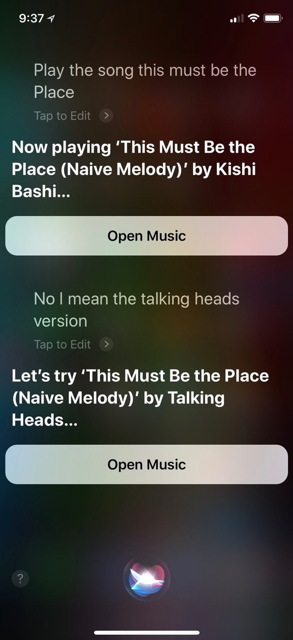 Correcting Siri on Song artist