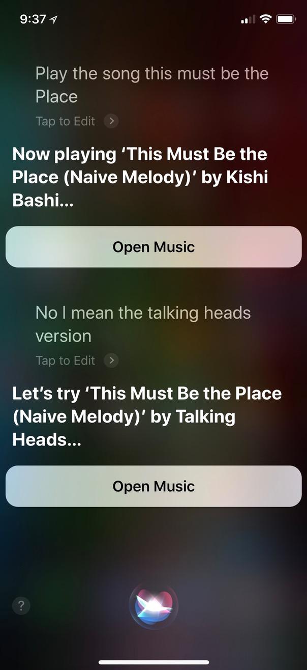 Correcting Siri on Song artist