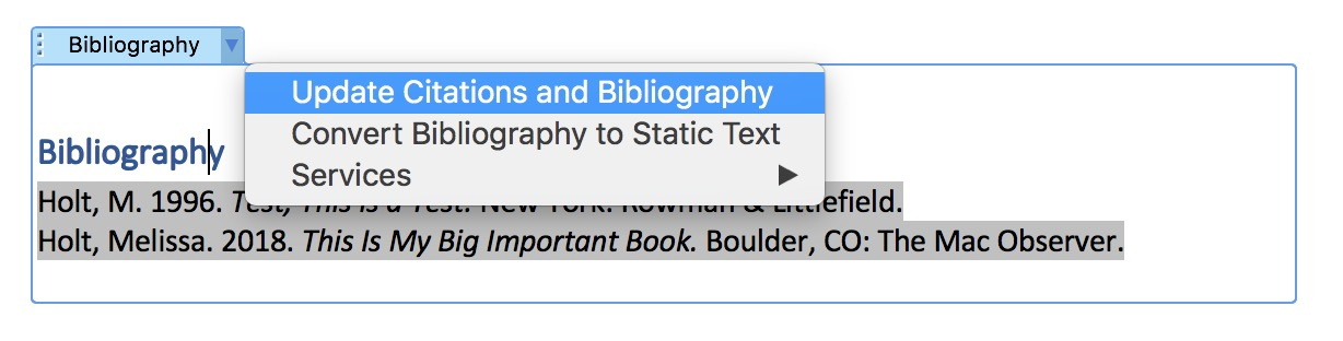 Update Bibliography Option in Microsoft Word