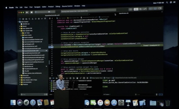 Xcode in Dark Mode in macOS Mojave