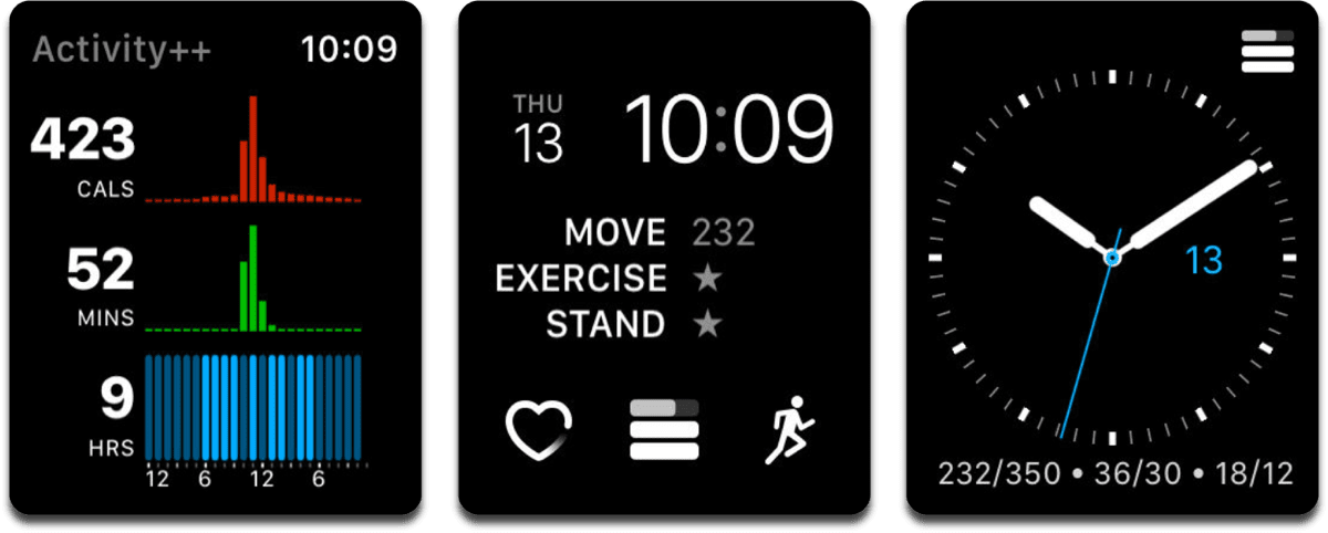 Screenshots of Activity++, which adds watchOS fitness complications.