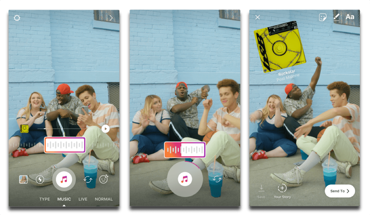 Screenshots of how to add music to Instagram Stories.