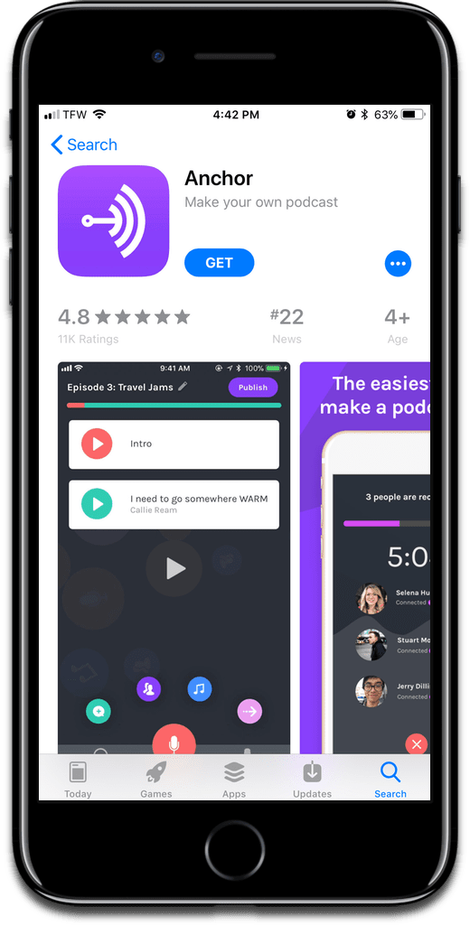Screenshot of Anchor app, used to make podcasts.