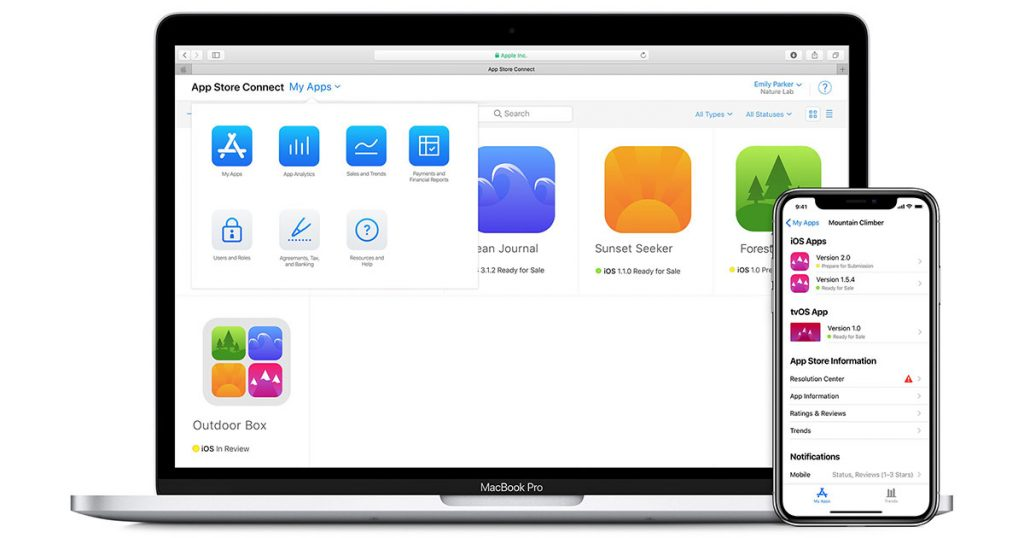 App Store Connect on iOS App and MacBook Browser
