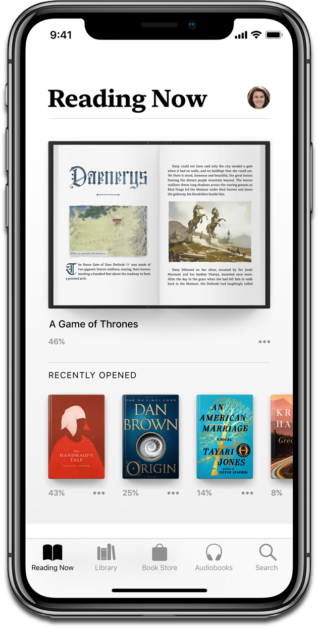 Screenshot of Apple Books on iOS 12.