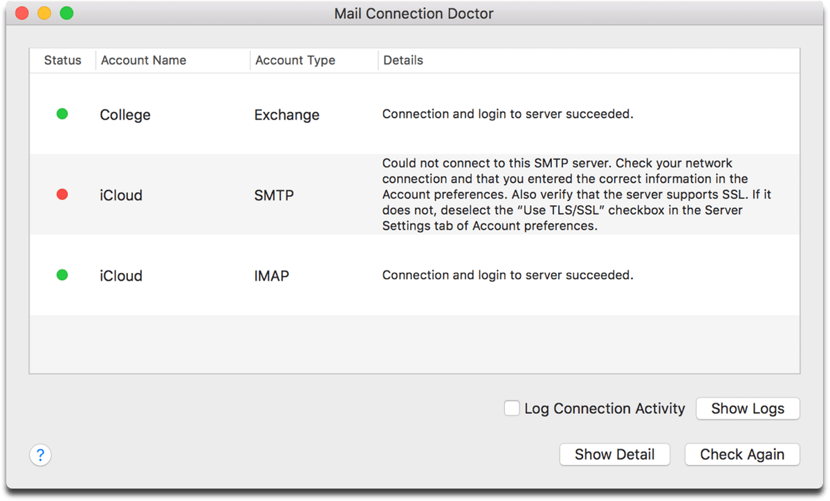 Screenshot of the Apple Mail Connection Doctor.