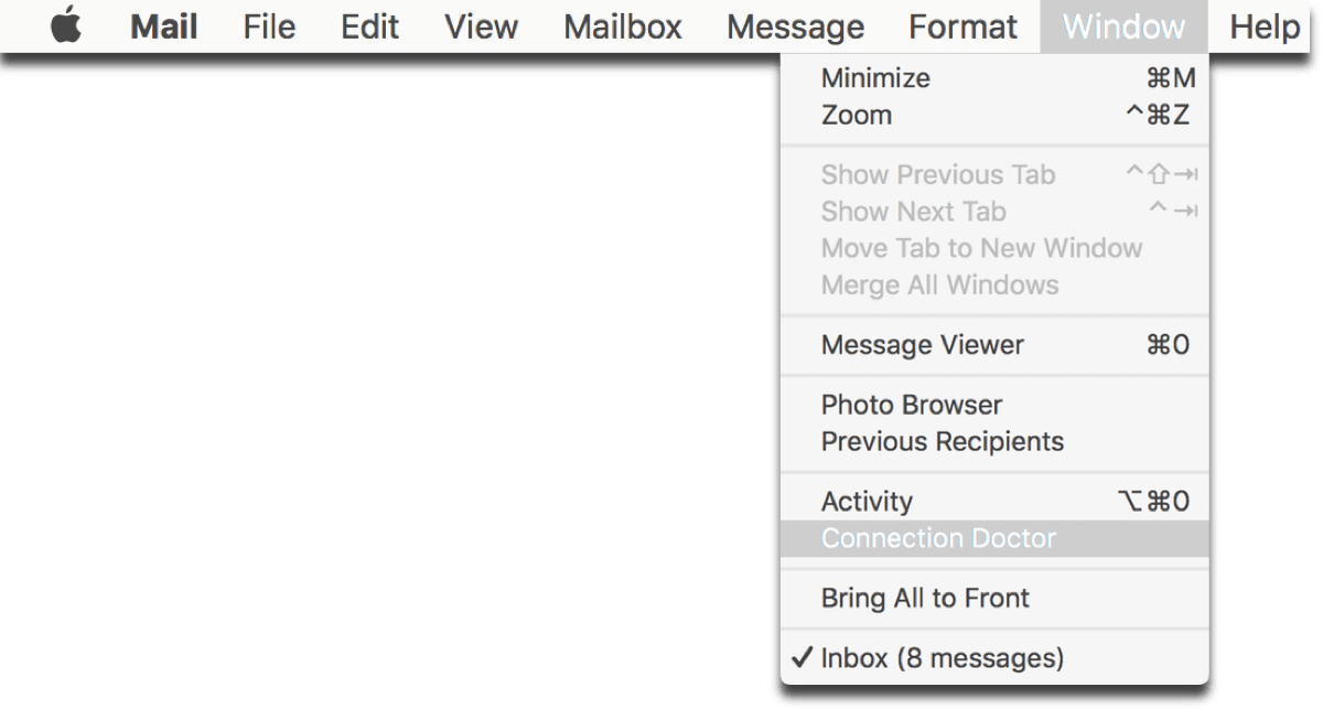 Screenshot of opening the Apple Mail Connection Doctor.